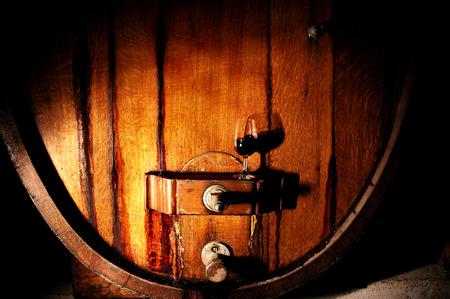 casks: Wine makers cask in winery featuring wine barrels