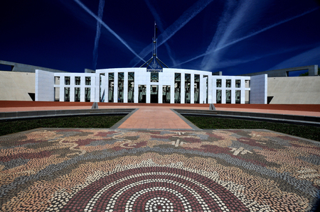 Parliament House Canberra with Aboriginal Foreground Reklamní fotografie