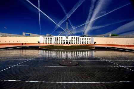 canberra: Parliament House Canberra with Pond in Foreground Stock Photo