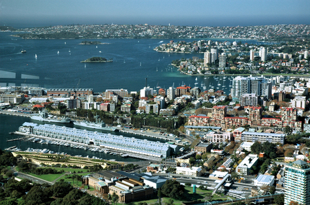 moorings: Darling Harbour Sydney a more industrial angle with waterfront housing and moorings Stock Photo
