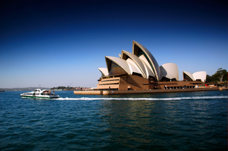 narrow depth of field: Sydney Opera House and Ferry heavily Polarised and tilt shift focus to create narrow depth of field Editorial