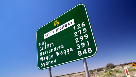 road sign highway sign: Australian highway road sign,  Featuring  hay, griffiths, west wyalong, balranald, sydney, wagga wagga, wagga,  distance, regional towns, speed sign Stock Photo