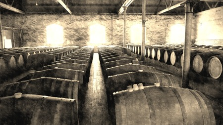 vale: Aged photo of historical wine barrels in winery storage area featuring rows of oak barrels after vintage and harvest. Areas include barossa valley, clare valley, Coonawarra, Hunter Valley, McLaren Vale