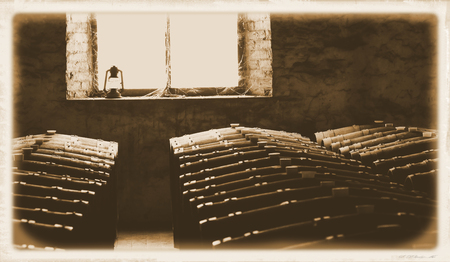 vale: Last century photo of historical wine barrels in winery cellar featuring rows of oak barrels after vintage.  Areas include barossa valley, clare valley, Coonawarra, Hunter Valley, McLaren Vale