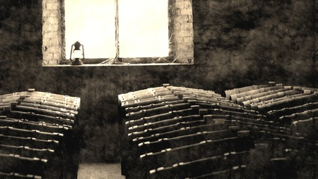 barossa: Aged photo of historical wine barrels in winery cellar featuring rows of oak barrels after vintage.  Areas include barossa valley, clare valley, Coonawarra, Hunter Valley, McLaren Vale