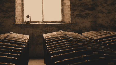 Sepia photo of historical wine barrels in winery cellar featuring rows of oak barrels after vintage.  photo