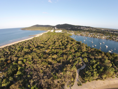 aerial photograph: Stock aerial photograph picture image of Noosa heads with main beach one side and noosa river the other Stock Photo