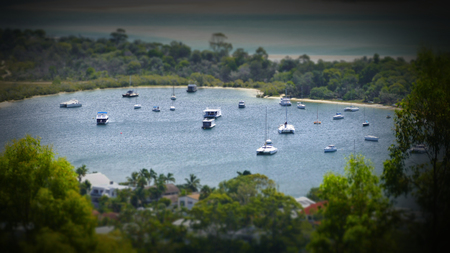 moorings: Stock aerial photograph picture image of Noosa heads boat moorings Queensland Australia, Featuring noosa river, the spit, queensland tourism themes, hasting street Stock Photo