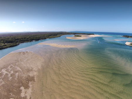 aerial photograph: Stock aerial photograph picture image of sand bars in Noosa River Queensland Australia, Featuring  the spit, queensland tourism themes & main beach Stock Photo