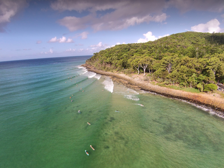 aerial photograph: Stock aerial photograph picture image of ocean around Noosa National Park Heads Queensland Australia, Featuring queensland tourism themes, surfing, & main beach Stock Photo