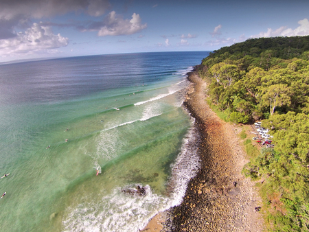aerial photograph: Stock aerial photograph picture image of Surf Break Noosa heads Queensland Australia,  Featuring noosa river, the spit, queensland tourism themes, surfing, hasting street & main beach