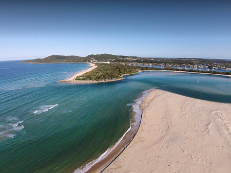 river main: Aerial picture image of Noosa heads River Mouth Queensland Australia, Featuring noosa river, the spit, the bar, queensland tourism & main beach