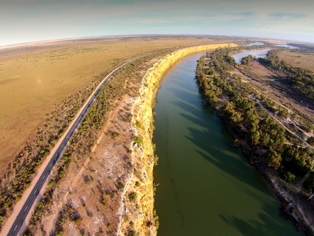 Aerial view of drought affected mallee highway alongside river murray cliffs at big bend in South Australia. Stock Photo