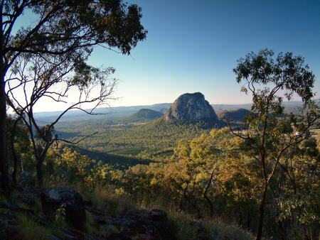 glasshouse: Aerial images view pictures photos of australian glasshouse mountain range on sunshine coast, queensland tourism holiday area. Featuring mount tibrogargan, mount coonowrin, mt beerwah and mt Tibberoowuccum