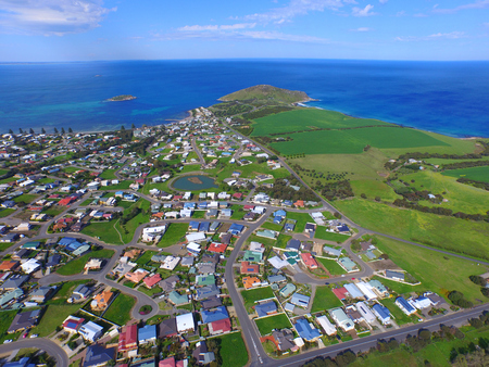 harbour: Aerial view of Encounter Bay at Victor Harbor