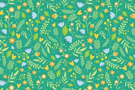 spring leaf: Seamless floral pattern with orange and sky blue flowers and green leaves on green background
