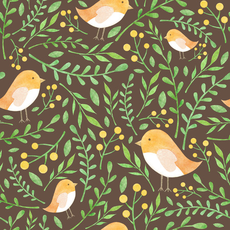 mixed wallpaper: Watercolor floral pattern with yellow birdies and berries green leaves on brown background