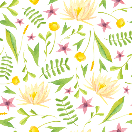 Watercolor wetland floral pattern with yellow lily purple flower and green orontium salvinia on white background Stock Photo