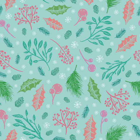 The first frosts pattern with rowan berries cedar branches and snowflakes on green background