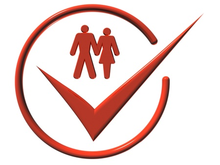 rende: Image of man and a woman, web-icons,  mark, 3d rende Stock Photo