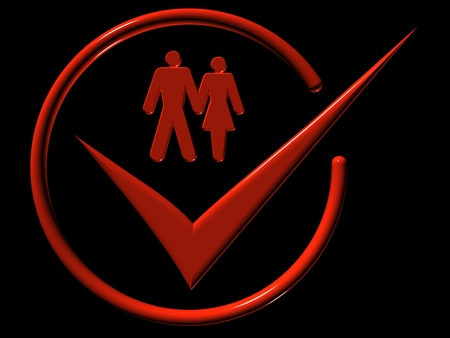 Image of man and a woman, web-icons,  mark, 3d rende Stock Photo - 9276285