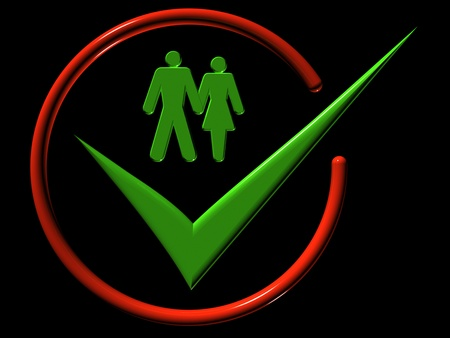 Image of man and a woman, web-icons,  mark, 3d rende Stock Photo