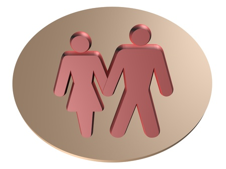 Image of man and a woman, 3d render photo