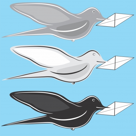 carrier pigeons: flying birds mail  pigeon , carrying a letter in its beak  Illustration