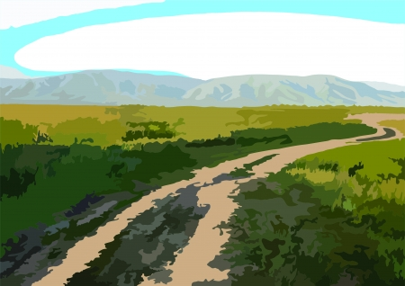 Image of a country road on a background gornoymestnosti and agricultural fields Illustration