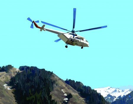 Picture of a flying helicopter