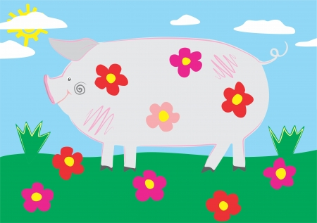 An a vector illustration of Pig   Files included  Illustrator 8 EPS  and JPG