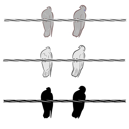 An a vector illustration of two doves on a wire   Files included  Illustrator 8 EPS  and JPG Stock Vector - 18219358