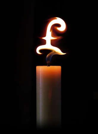 Candle burning money photo