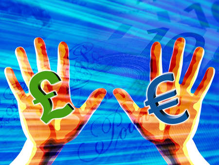 Currency Symbols in Hands Stock Photo - 358263