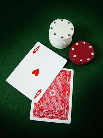 Ace Playing Card and Poker Chips