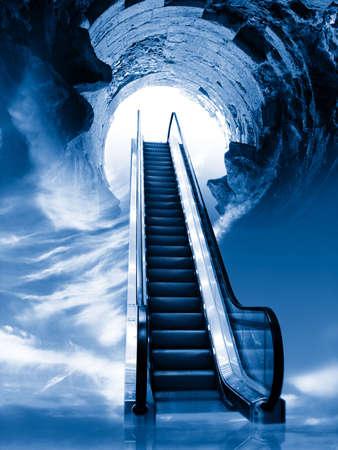 Blue escalator Stock Photo - 358221
