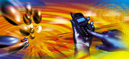repondre au telephone: T�l�chargements Mobiles Banque d'images