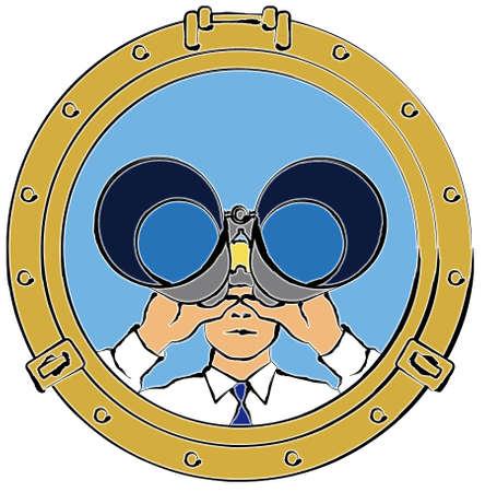 spying: Man Looking through Binoculars