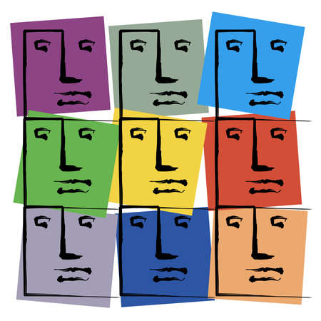 Coloured Faces Stock Photo