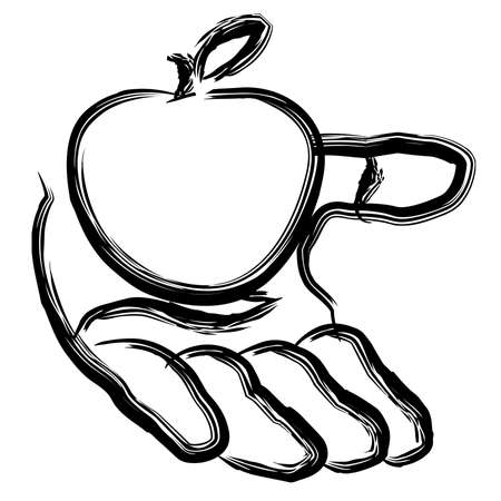Apple in plam of hand