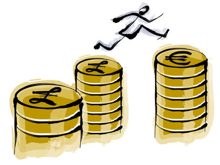 Jump from the Pound to the Euro Stock Photo