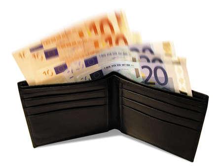ten empty: Wallet with Euro Bank notes Stock Photo
