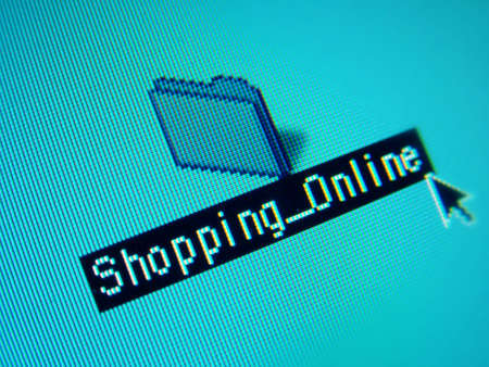 organising: shopping online Stock Photo
