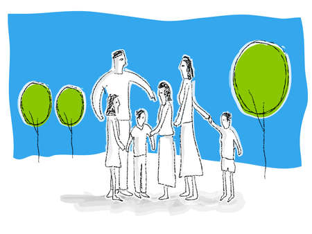 family unit: Family unit illustration Stock Photo