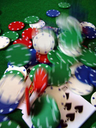 active adult community: Playing Cards Poker Chips Stock Photo