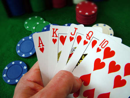 gambling counter: Playing Cards Poker Chips Stock Photo