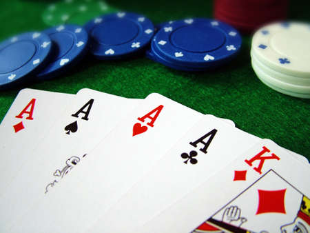 luckiness: Playing Cards Poker Chips Stock Photo
