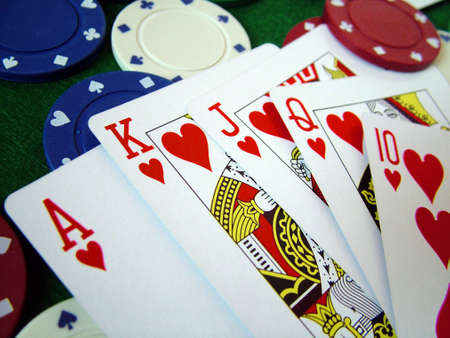 ace hearts: Playing Cards Poker Chips Editorial