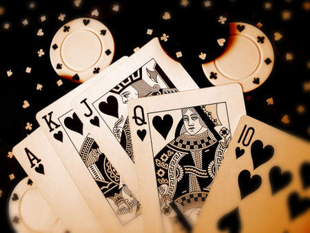 casino dealer: Playing Cards Poker Chips Editorial