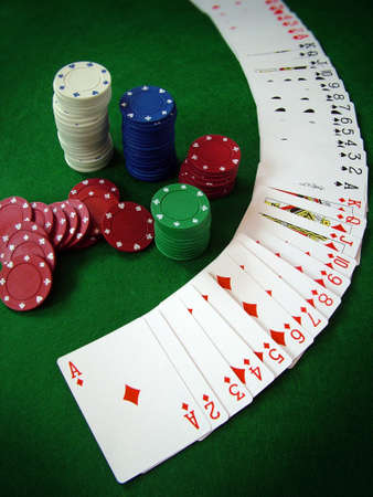 Playing Cards Poker Chips Stock Photo